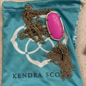 EUC Kendra Scott Long pink and gold necklace